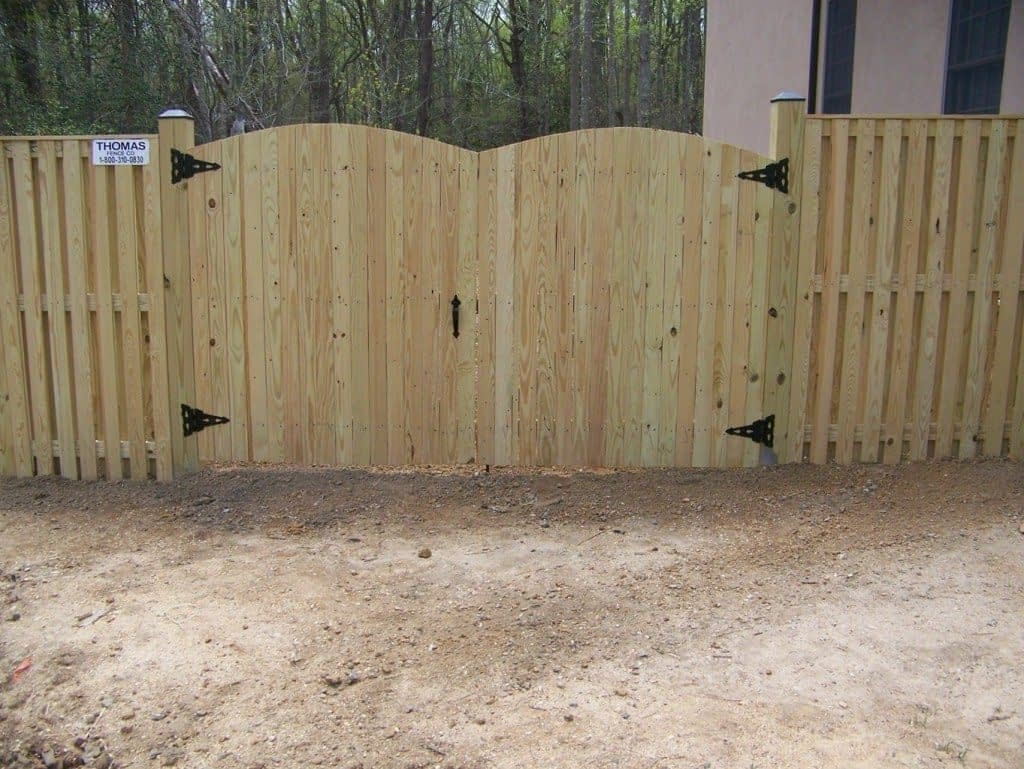 large wood gate fence near in Long Beach