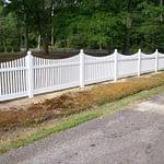Large sample of vinyl residential fence in Lexington Park